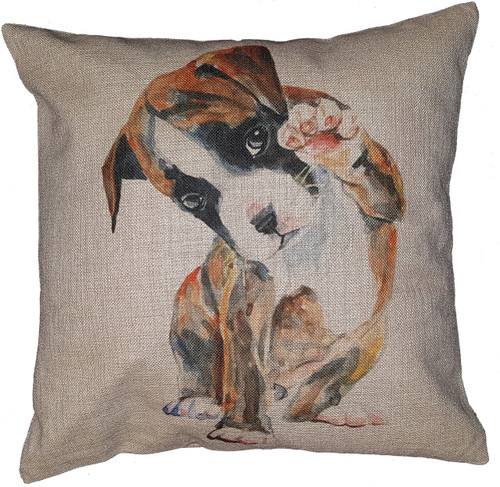 Cotton & Linen Dog Pillow - Boxer (10368)