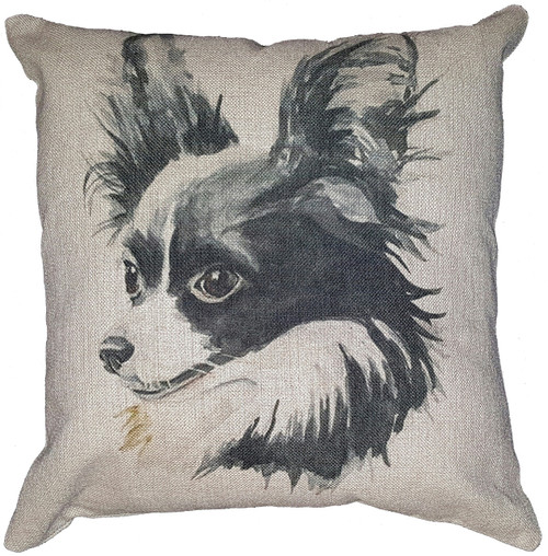 Cotton & Linen Dog Pillow - Papillon (10371)