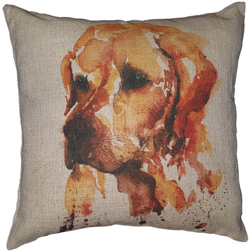 Cotton & Linen Dog Pillow - Golden Retriever (4880) (10372)