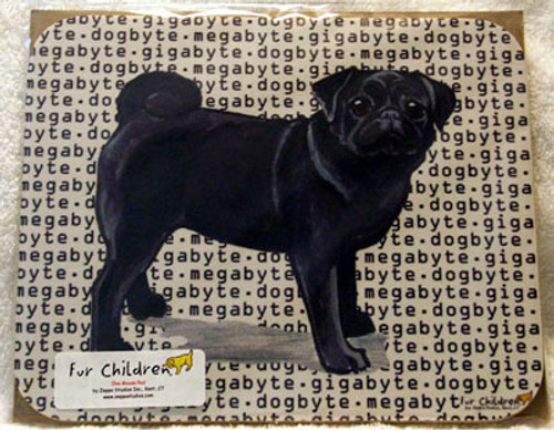 Fur Children Megabyte, Gigabyte, Dog Byte Mouse Pad - Pug (Black) (MPMGDB111)