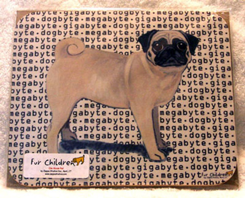 Fur Children Megabyte, Gigabyte, Dog Byte Mouse Pad - Pug (Fawn) (MPMGDB112)