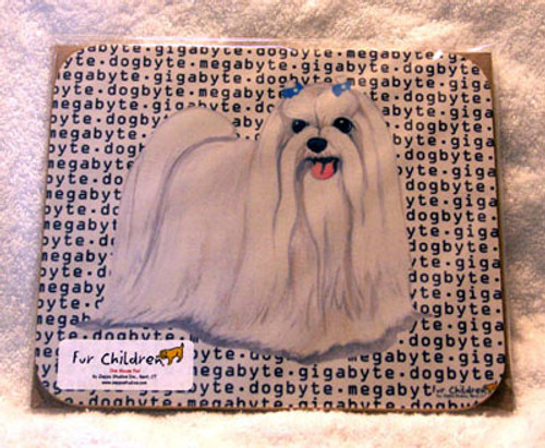 Fur Children Megabyte, Gigabyte, Dog Byte Mouse Pad - Maltese (MPMGDB93)