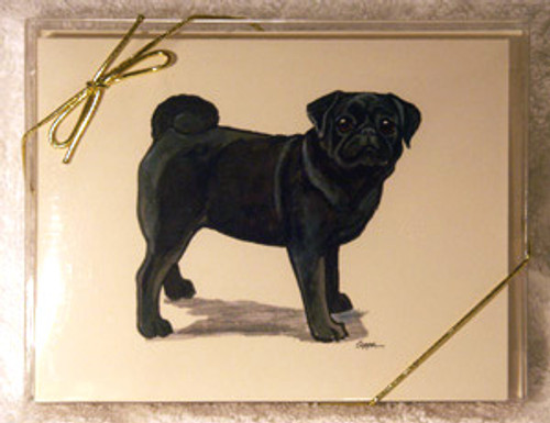 Fur Children Blank Note Cards - Pug (Black) (NC0405111)
