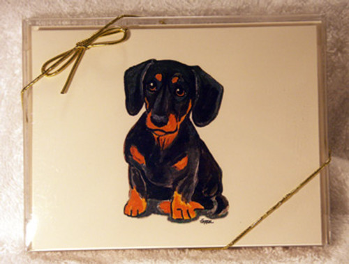 Fur Children Blank Note Cards - Dachshund (Black/Tan) (NC040549)