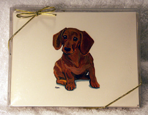 Fur Children Blank Note Cards - Dachshund (Red) (NC040550)