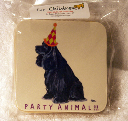 Fur Children Party Animal Coasters - American Cocker Spaniel (Black) (PC040405)