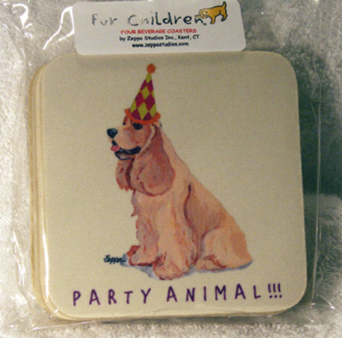 Fur Children Party Animal Coasters - American Cocker Spaniel (Buff) (PC040406)