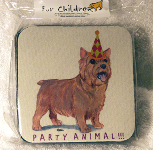 Fur Children Party Animal Coasters - Norwich Terrier (PC0404100)