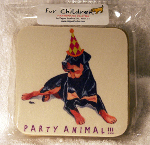 Fur Children Party Animal Coasters - Rottweiler (PC0404116)