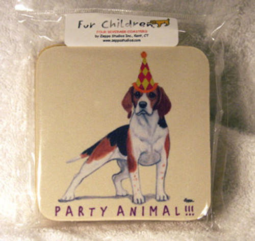 Fur Children Party Animal Coasters - Beagle (PC040414)