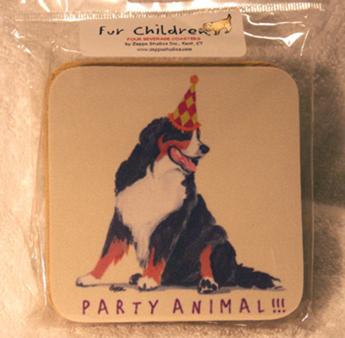 Fur Children Party Animal Coasters - Bernese Mountain Dog (PC040418)