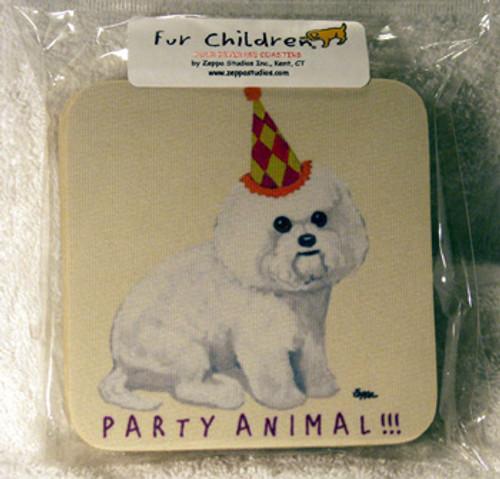 Fur Children Party Animal Coasters - Bichon Frise (PC040419)