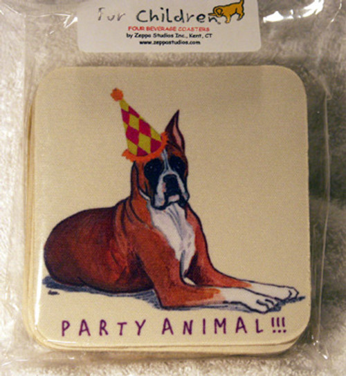 Fur Children Party Animal Coasters - Boxer (PC040426)