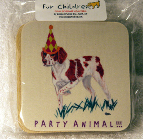 Fur Children Party Animal Coasters - Brittany Spaniel (PC040430)