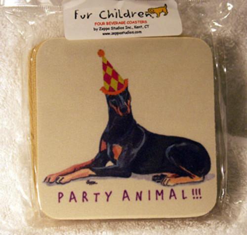 Fur Children Party Animal Coasters - Doberman (PC040455)