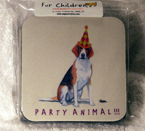 Fur Children Party Animal Coasters - English Foxhound (PC040459)