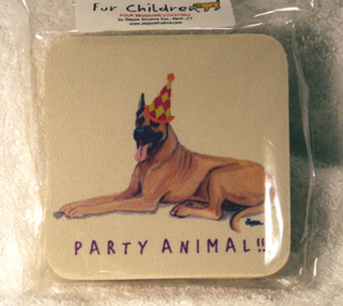 Fur Children Party Animal Coasters - Great Dane (PC040468)