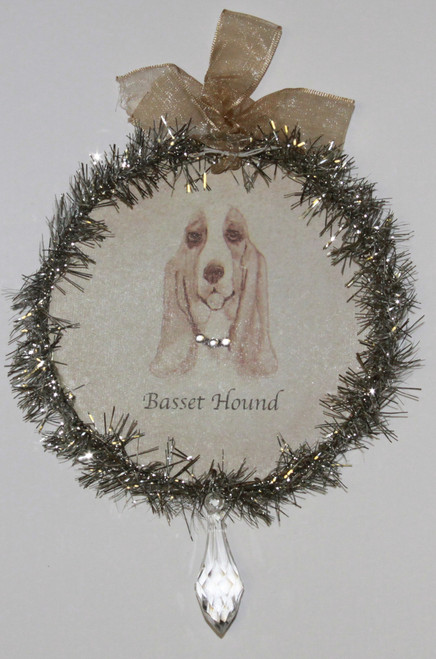 Rudolph & Me Dog Christmas Ornament - Basset Hound (GW12) - Front