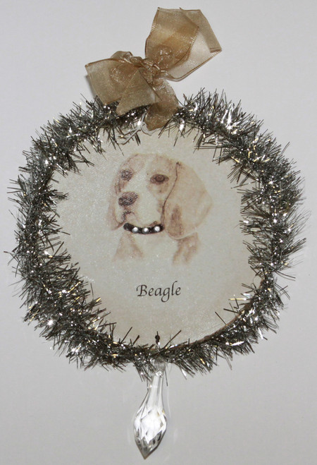 Rudolph & Me Dog Christmas Ornament - Beagle (GW13) - Front