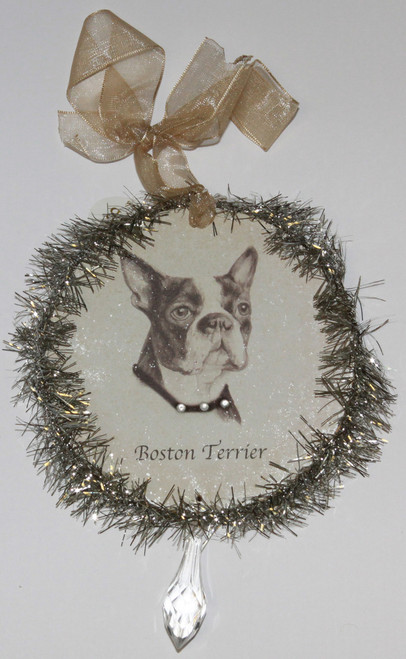 Rudolph & Me Dog Christmas Ornament - Boston Terrier (GW15) - Front