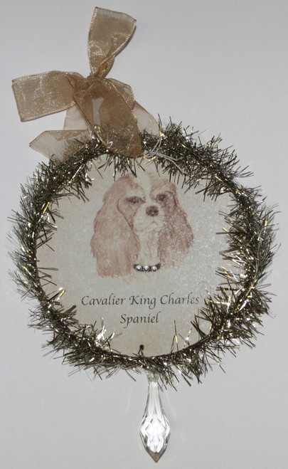 Rudolph & Me Dog Christmas Ornament - Cavalier King Charles Spaniel (GW17) - Front