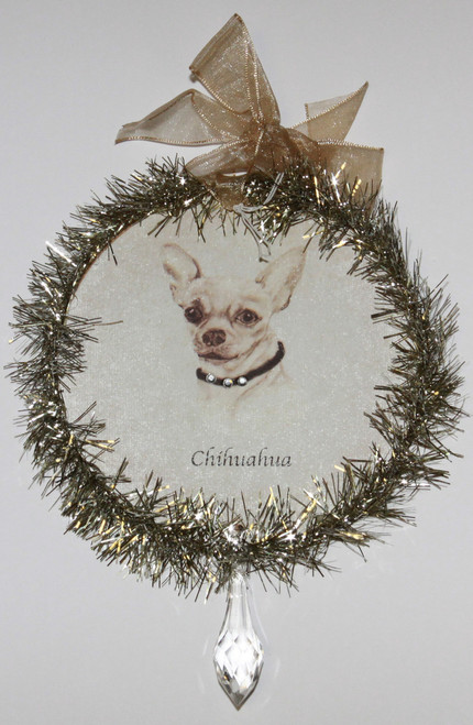 Rudolph & Me Dog Christmas Ornament - Chihuahua (GW18) - Front