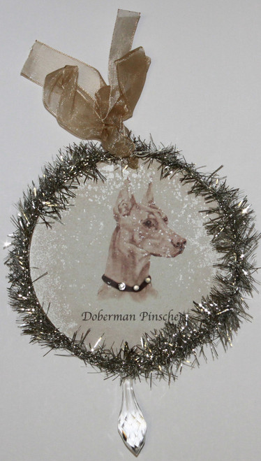 Rudolph & Me Dog Christmas Ornament - Doberman Pinscher (GW25) - Front