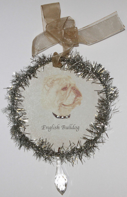 Rudolph & Me Dog Christmas Ornament - Bulldog (GW26) - Front