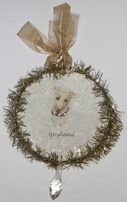 Rudolph & Me Dog Christmas Ornament - Greyhound (GW28) - Front