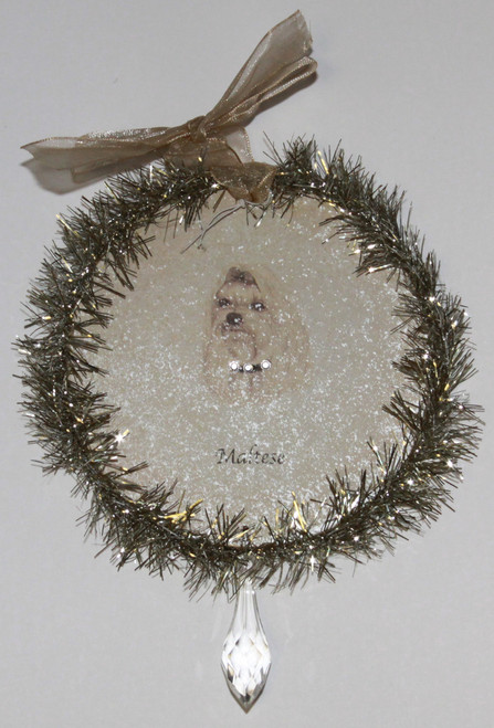 Rudolph & Me Dog Christmas Ornament - Maltese (GW32) - Front