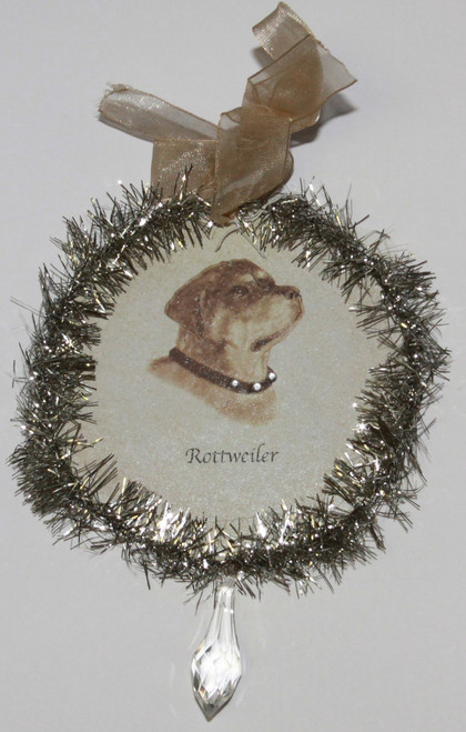 Rudolph & Me Dog Christmas Ornament - Rottweiler (GW39) - Front