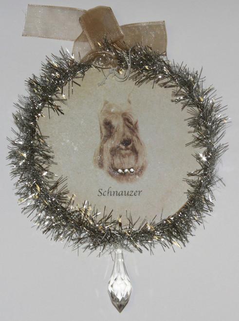 Rudolph & Me Dog Christmas Ornament - Schnauzer (GW40) - Front