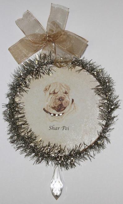 Rudolph & Me Dog Christmas Ornament - Shar Pei (GW41) - Front