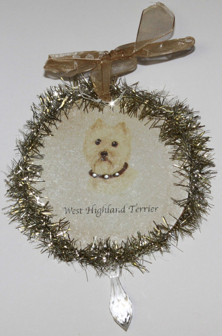 Rudolph & Me Dog Christmas Ornament - West Highland Terrier (Westie) (GW46) - Front