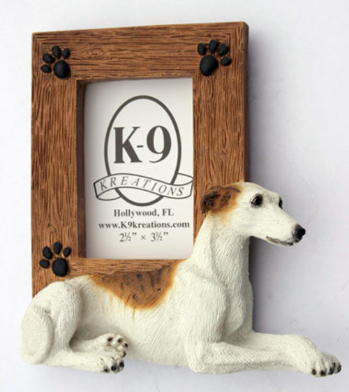 K9 Creation 2.5x2.5 Picture Frame - Greyhound (White/Brindle) (SF21W)