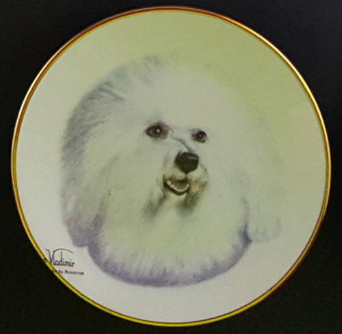 Classic Collection 4in Color Mini Porcelain Plate-Bichon Frise (316 Bichon)