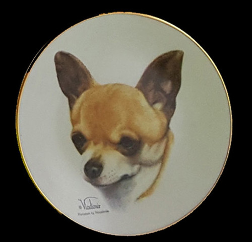 Classic Collection 4in Color Mini Porcelain Plate-Chihuahua (Smooth Coat) (316 Chihuahua)