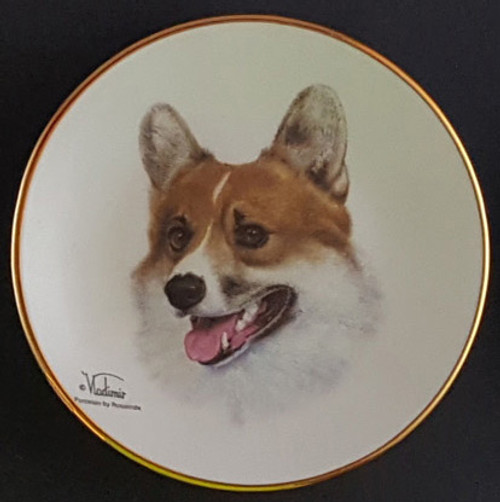 Classic Collection 4in Color Mini Porcelain Plate-Pembroke Walsh Corgi (316 Corgi Pem)