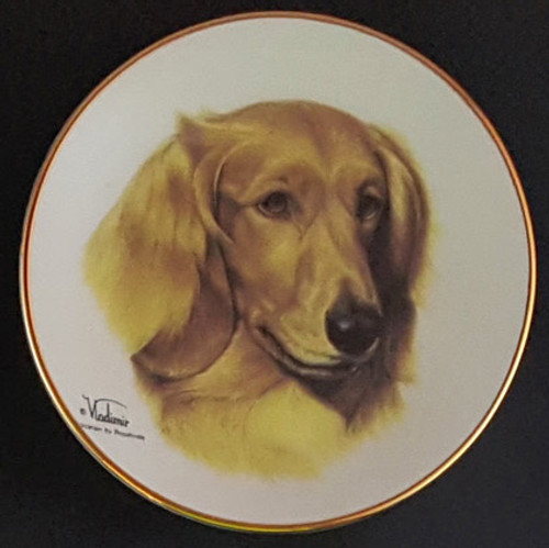 Classic Collection 4in Color Mini Porcelain Plate-Dachshund (Long Hair) (316 LHDachshund)