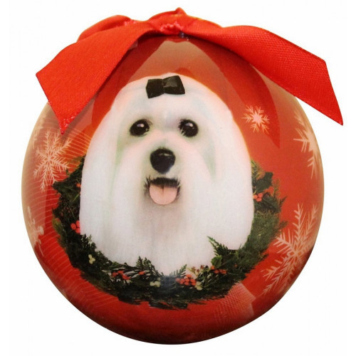 E&S Imports Shatter Proof Ball Christmas Ornament - Maltese (puppy cut) (CBO-88)