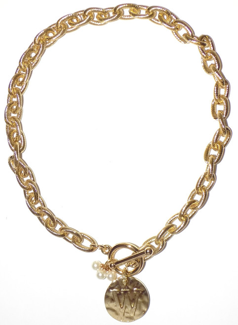 Main Street Collection MSC Monogram Disc Necklace - Letter W (MDPP/9100-1)