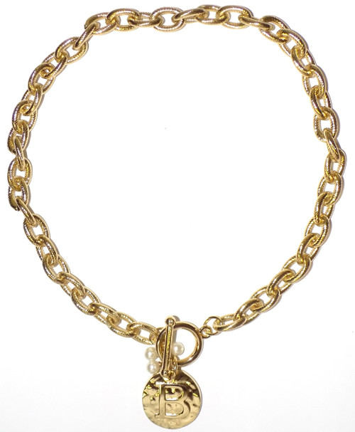 Main Street Collections MSC Monogram Disc Necklace - Letter B (MDPP/9100-1)