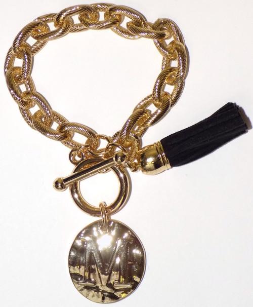Main Street Collection MSC Monogram Disc Bracelet - Letter M (MBPP/9156-1)