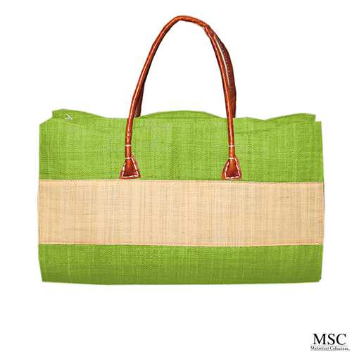 Mainstreet Collection MSC Stripe Straw Tote - Lime Green (SSTL/8586)