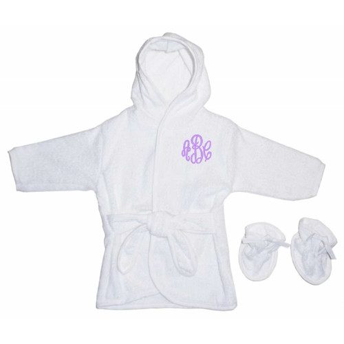 White Hooded Baby Terry Cloth Robe with Booties (960W)