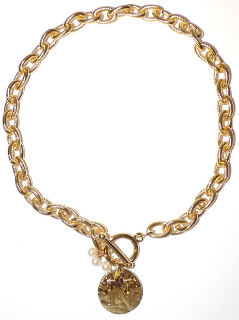 Main Street Collection MSC Monogram Disc Necklace - Letter N (MDPP/9100-1)