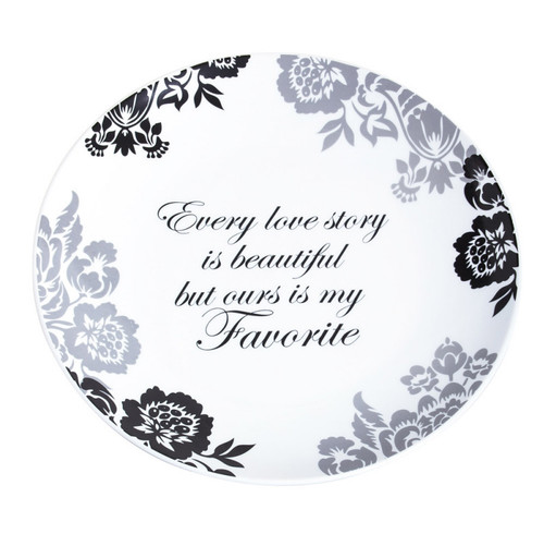 Elegant Black Ink Platter, Every Love Story Is Beautiful but Ours is My Favorite (3CHR5211B)