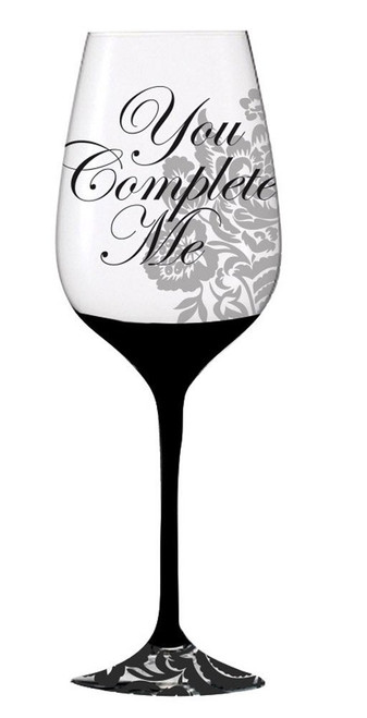 Elegant Black Ink Wine Glass, You Complete Me (3CWG5211B)