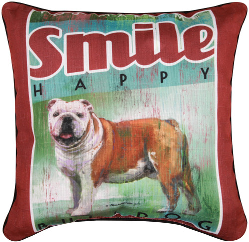 Dog Crossing 18in Decorative Pillow - Bulldog (SLDCBD)