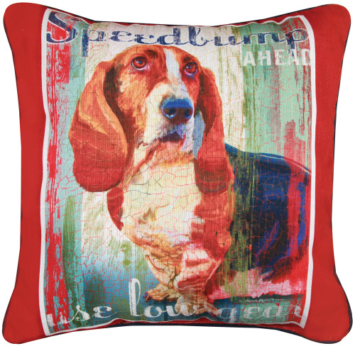 Dog Crossing 18in Decorative Pillow - Basset Hound (SLDCBH)